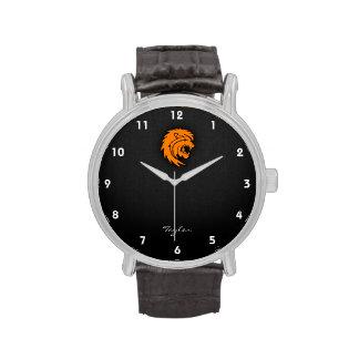 Leo anaranjado relojes de pulsera