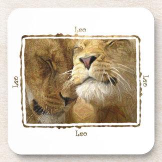 Leo - Astrology Lion Couple Coaster Set