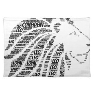 Leo Astrology Zodiac Sign Word Cloud Cloth Placemat