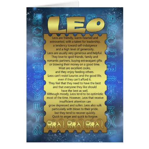 Leo Birthday Card - Zodiac Birthday Card - Leo