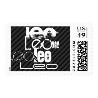 Leo; Black & Dark Gray Stripes Postage
