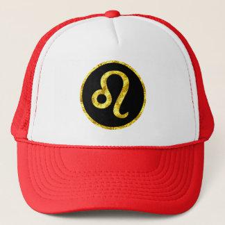 Leo Black Gold Crest Trucker Hat