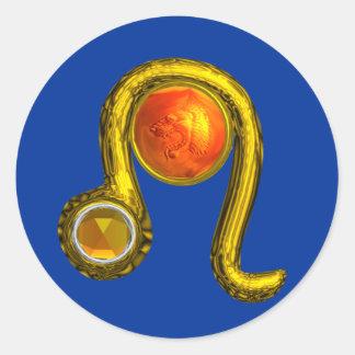 LEO,blue Classic Round Sticker