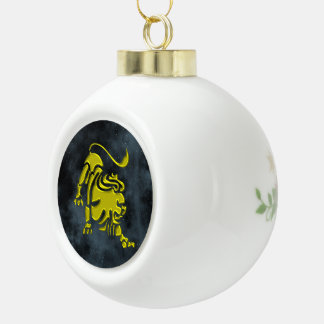 Leo Ceramic Ball Christmas Ornament