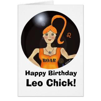Leo Chick Birthday Card