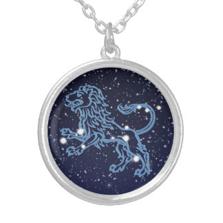 Leo Constellation and Zodiac Sign with Stars Silver Plated Necklace