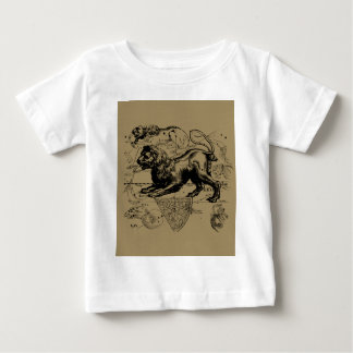 Leo Constellation Map Hevelius 1690 on Taupe Baby T-Shirt