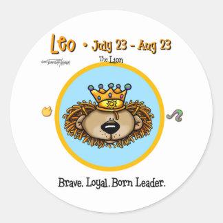 Leo el león - horóscopo pegatinas redondas
