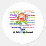 Leo, el león, regalos de encargo de la astrología etiqueta redonda