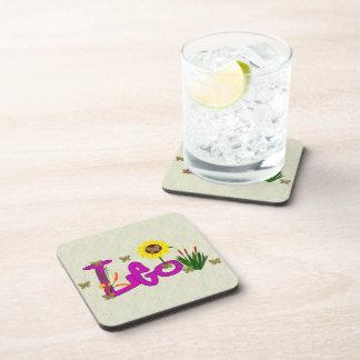 Leo Flowers Beverage Coaster