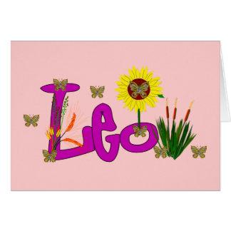 Leo Flowers Card