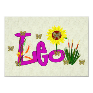 "Leo Flowers 5"" X 7"" Invitation Card"