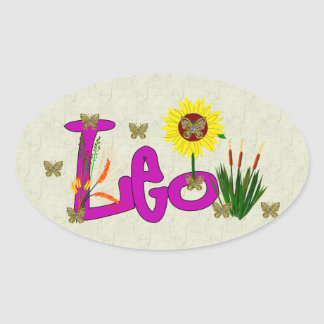 Leo Flowers Oval Sticker