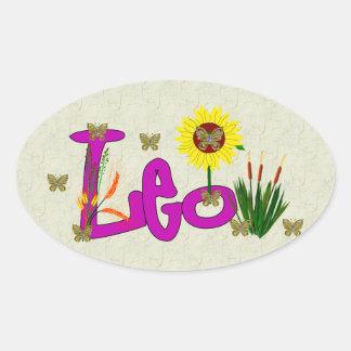 Leo Flowers Oval Sticker