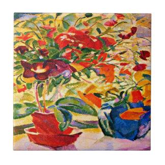 Leo Gestel - Flowers on Windowsill, 1915 artwork Small Square Tile