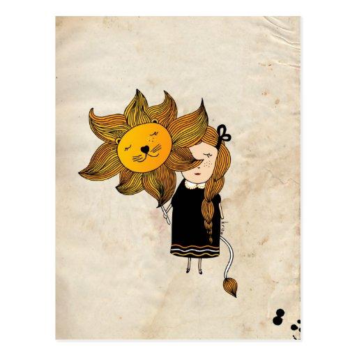 Leo Girl Zodiac Sign Tarjeta Postal