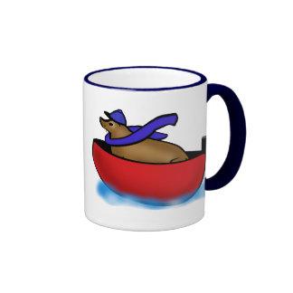 Leo Goes Boating Ringer Coffee Mug
