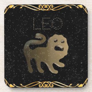 Leo golden sign beverage coaster