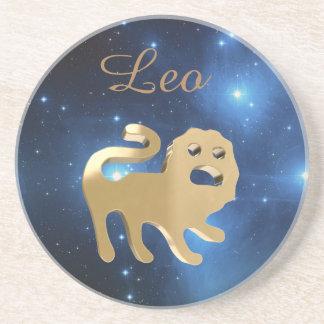 Leo golden sign drink coaster