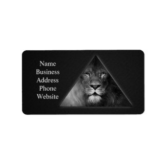 Leo Horoscope Lion Illustration Black and White Label