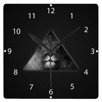 Leo Horoscope Lion Illustration Black and White Square Wall Clocks