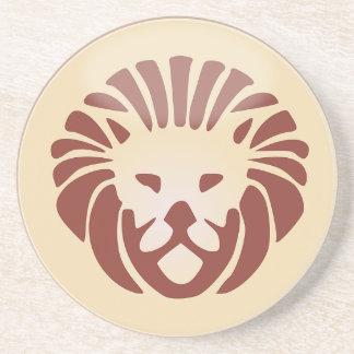 Leo Horoscope Sign Gold & Black Sandstone Coaster