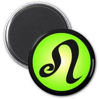 Leo Horoscope Sign Sunny Green Circle Design 2 Inch Round Magnet