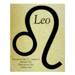 Leo Horoscope Symbol Gold and Black Poster
