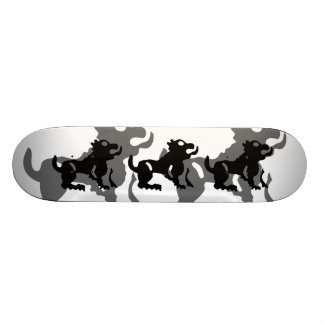 Leo in black skateboard deck