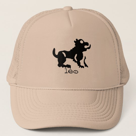 Leo in black trucker hat