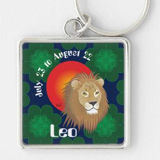 Leo July 23 to los agosto de 22 Keychains Llavero Cuadrado Plateado
