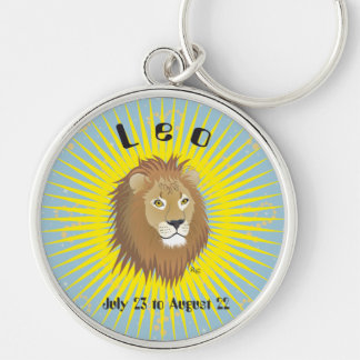 Leo July 23 to los agosto de 22 Keychains Llavero Redondo Plateado