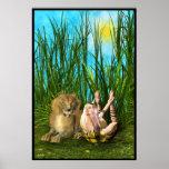 Leo la impresión del bebé de la yoga del león posters