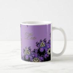 Leo Lavender Fractal with Metallic Silver Symbols Mug