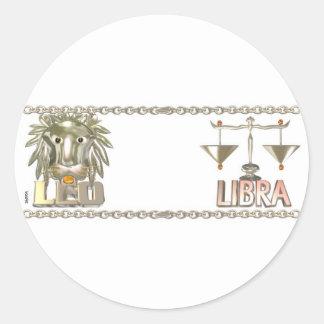 Leo Libra zodiac friendship gifts by Valxart com Round Stickers