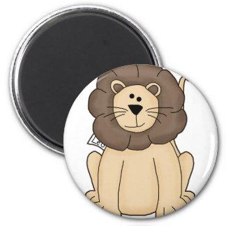 Leo lindo el gato grande del león imán redondo 5 cm