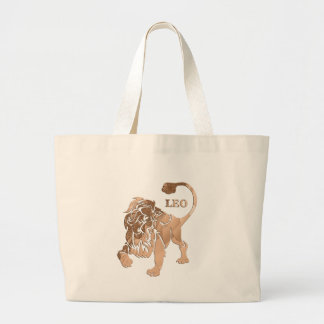 Leo Lion Brushed Gold RED Zodiac Tote Bags