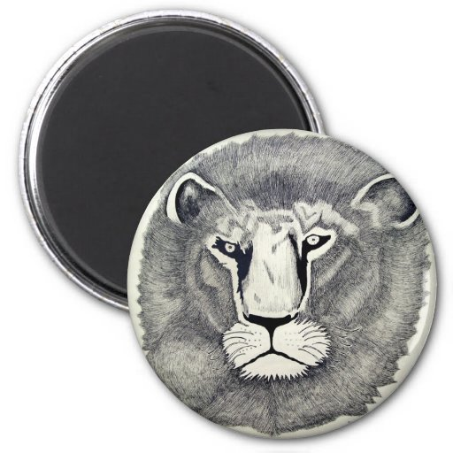 Leo Lion by Piliero 2 Inch Round Magnet
