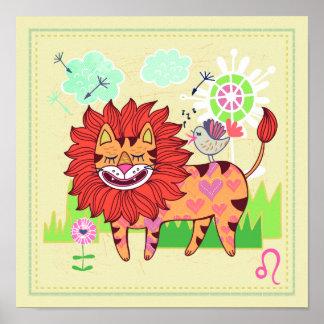 Leo Lion Cat Zodiac Nursery Print