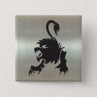 Leo Lion Silhouette on Metallic Effect Button