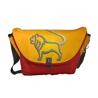 Leo Lion Star Sign In Silver On Messenger Bag