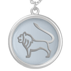 Leo Lion Star Sign Silver Pendant at Zazzle
