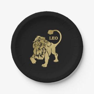 Leo Lion Zodiac Black Paper Plate