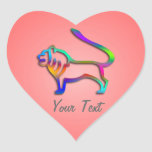 Leo Lion Zodiac Rainbow on Romantic Pink Heart Heart Sticker