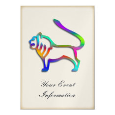 Leo Lion Zodiac Star Sign Rainbow Color Party Card at Zazzle