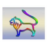 Leo Lion Zodiac Star Sign Rainbow Color Post Card
