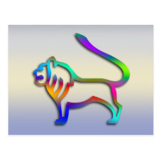 Leo Lion Zodiac Star Sign Rainbow Color Postcard at Zazzle