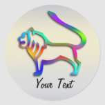 Leo Lion Zodiac Star Sign Rainbow Color Round Stickers