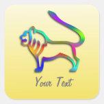 Leo Lion Zodiac Star Sign Rainbow On Yellow Square Sticker