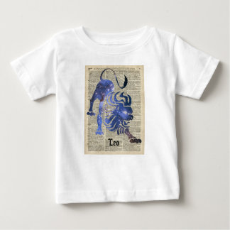 Leo Lion Zodiac Vintage  Collage On Old Book Page Baby T-Shirt